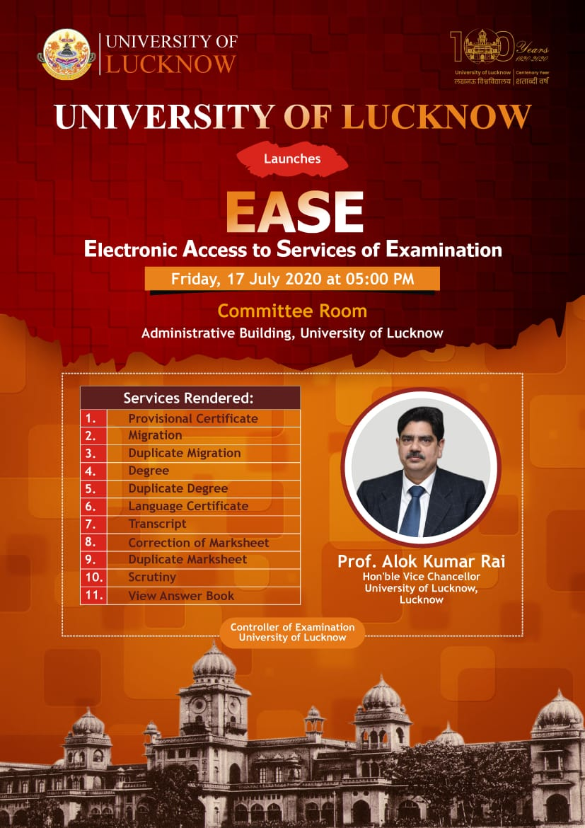 University of Lucknow Launches Electronic Access to Services of Examination (EASE)