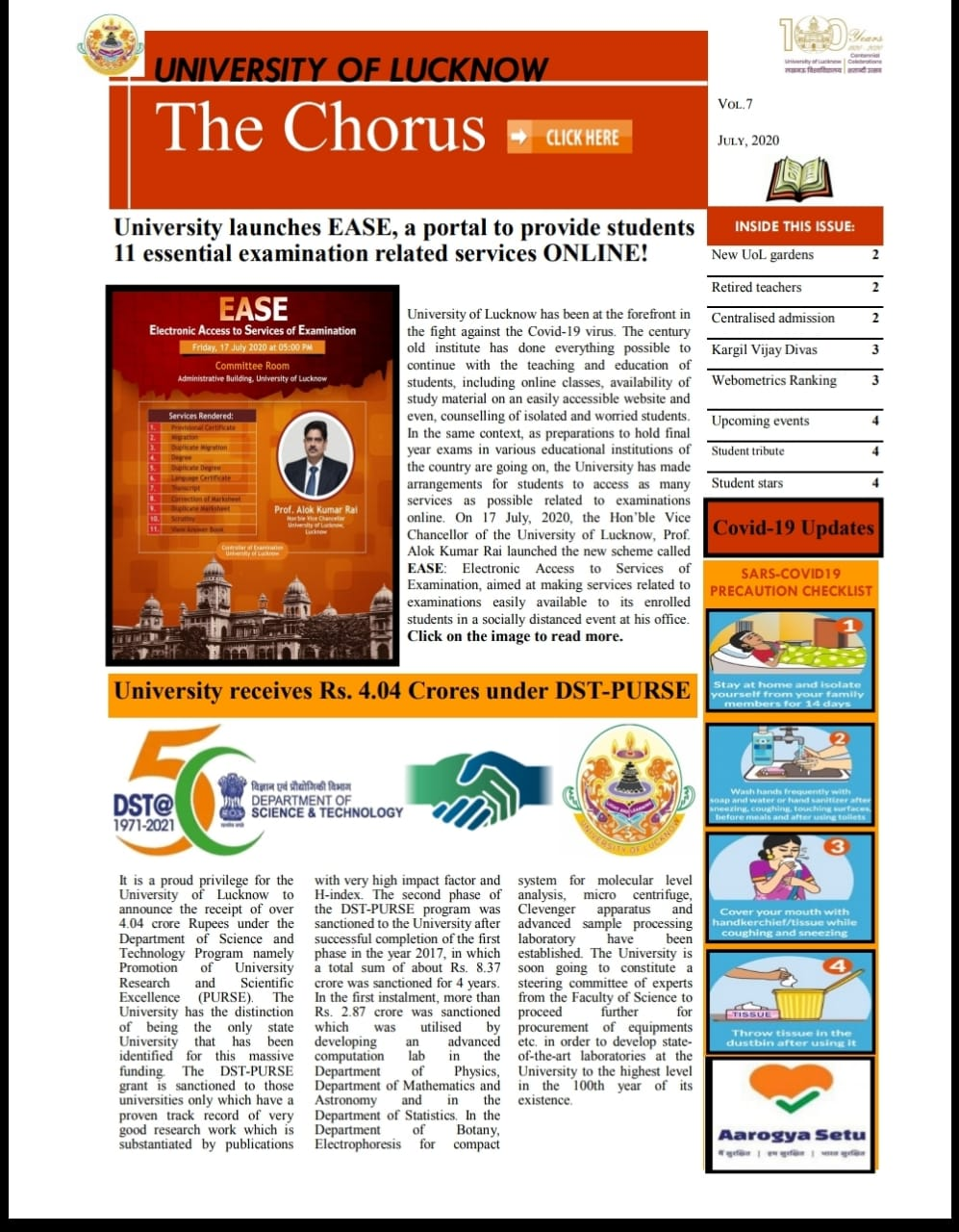 July issue of The Chorus, University of Lucknow
