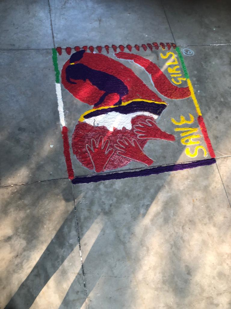 Painting Rangoli and other compititions at Tilak Hall